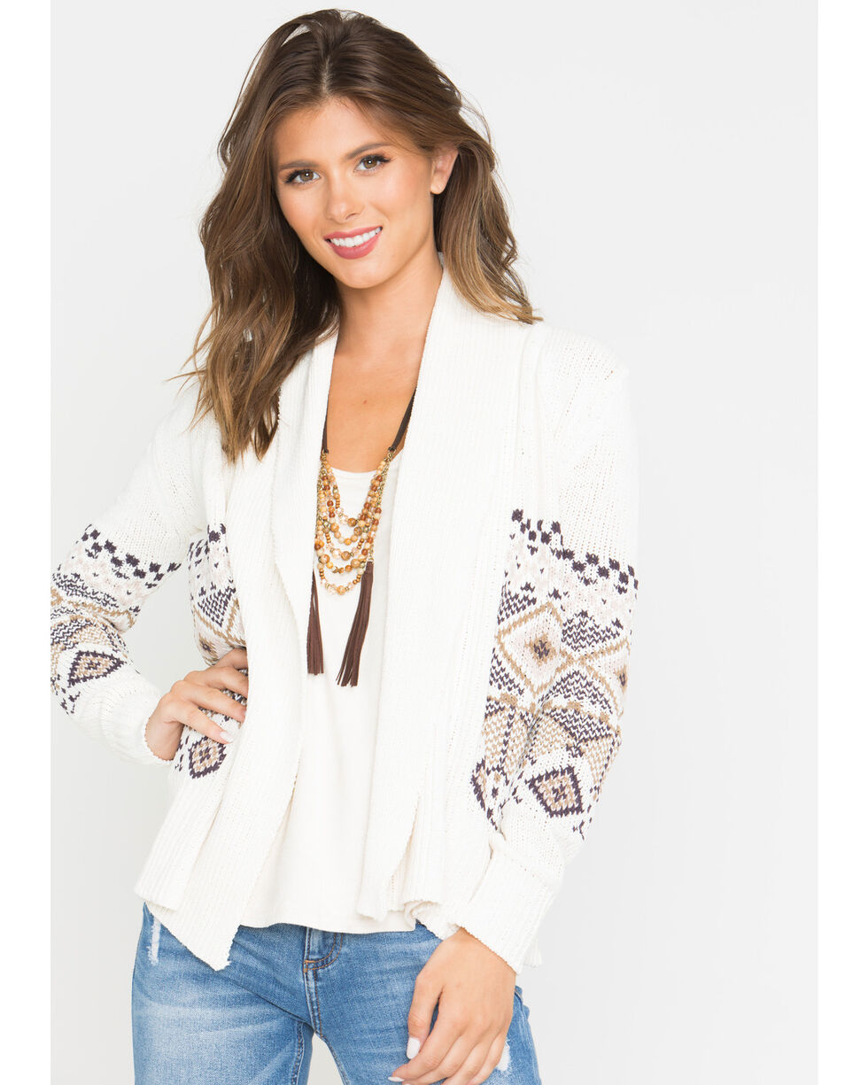 Shyanne Women's Aztec Cable Knit Sweater, Ivory, hi-res
