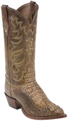 Tony Lama Tan Vintage Hornback Caiman Exotic Cowboy Boots - Pointed Toe , , hi-res
