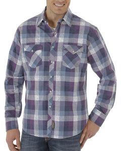 Wrangler Men's Navy Retro Long Sleeve Plaid Shirt , Navy, hi-res