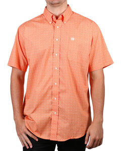 Cinch Men's Plain Weave Print Short Sleeve Shirt, Coral, hi-res