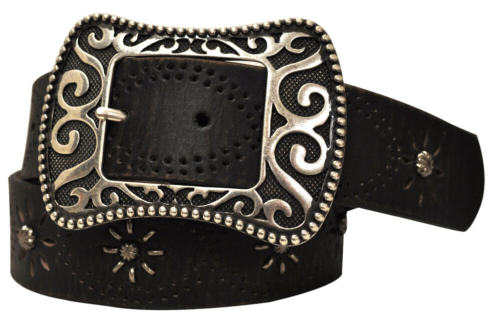 Roper Women's Tan Distressed Leather Belt, Tan, hi-res