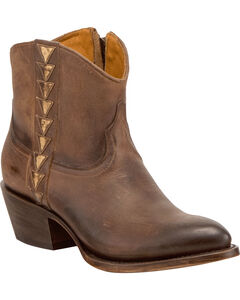 Lucchese Women's Chloe Dark Brown Goat Leather Geometric Overlay Western Booties - Round Toe, Dark Brown, hi-res