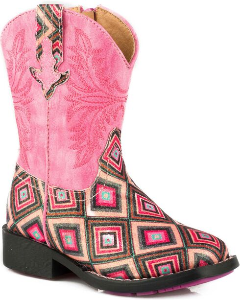Roper Youth Girl's Glitter Gal Pink Glitter Diamonds Cowgirl Boots - Square Toe, Pink, hi-res