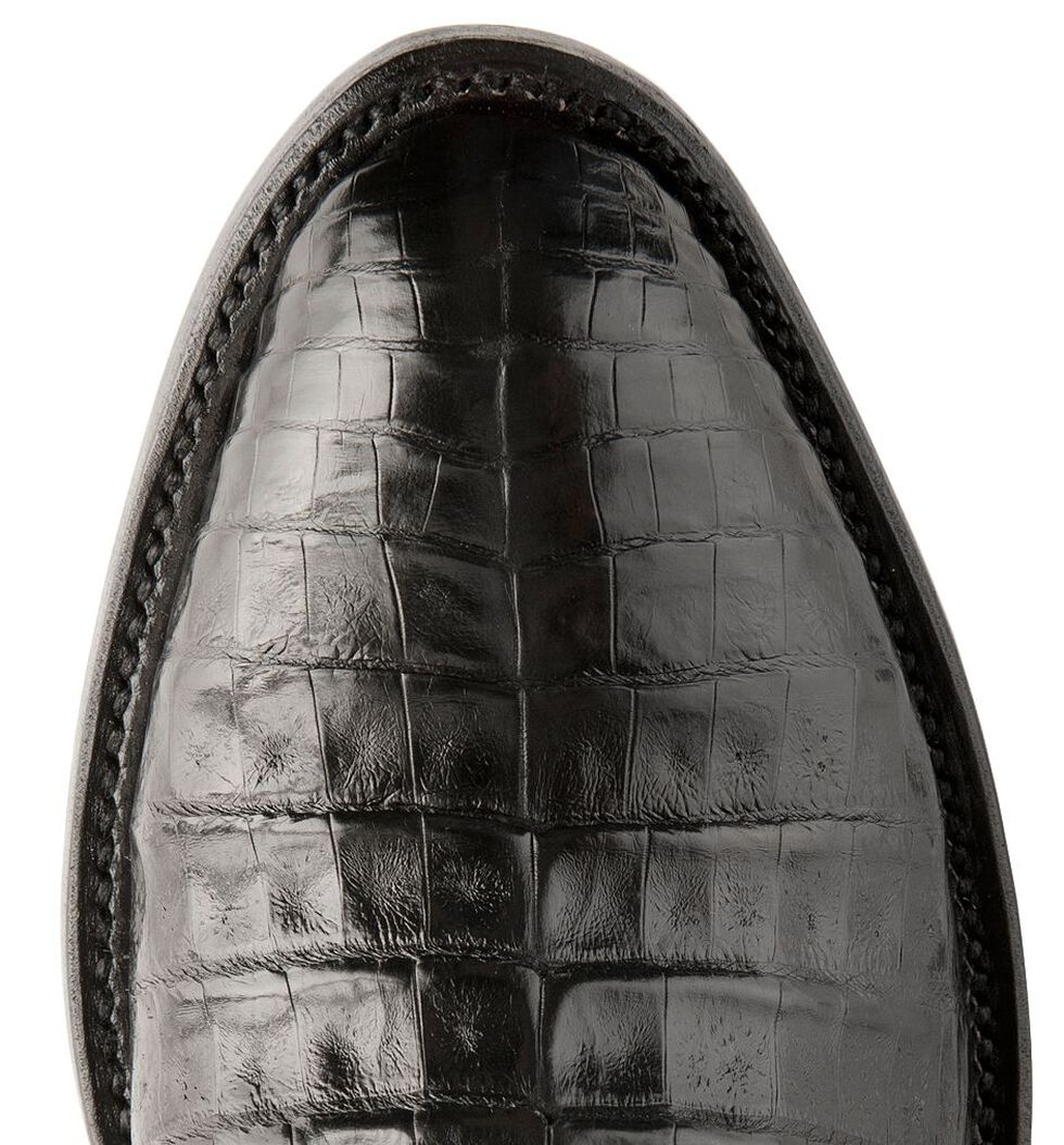 Lucchese Handmade 1883 Black Crocodile Belly Cowboy Boots - Medium Toe, Black, hi-res