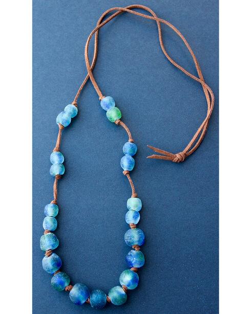 """2 Queen B's Women's 36"""" Suede Handmade Ghana Bead Necklace , Green, hi-res"""