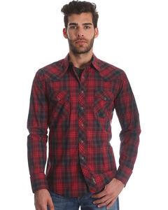 Wrangler Men's Red Retro Two Pocket Plaid Shirt - Tall , Red, hi-res