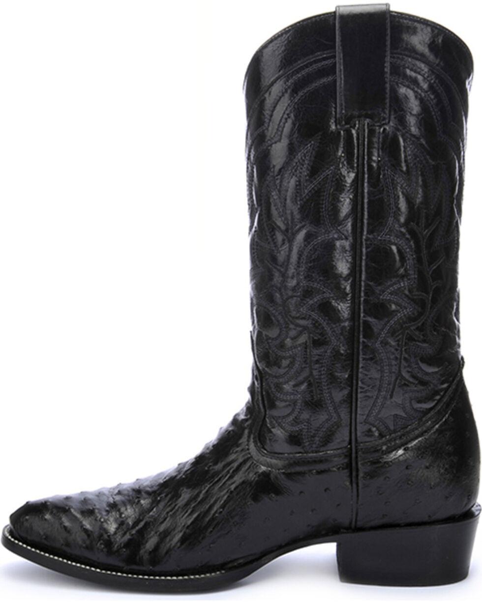 Circle G Men's Full Quill Ostrich Cowboy Boots - Round Toe , Black, hi-res