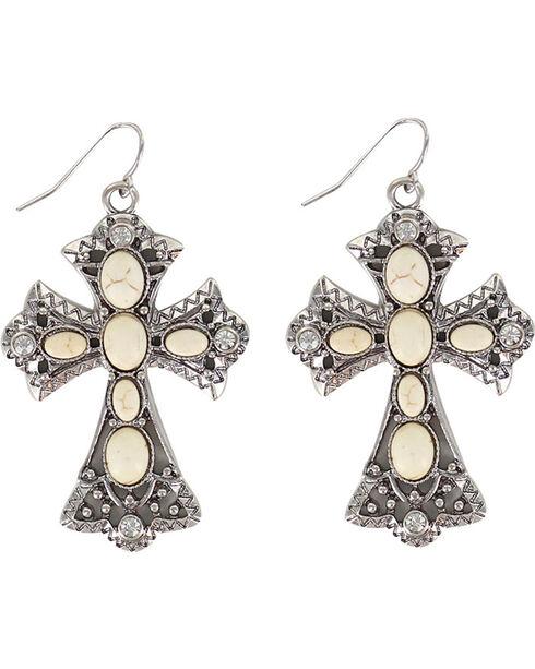 Shyanne Women's Cross Bone Earrings, Silver, hi-res