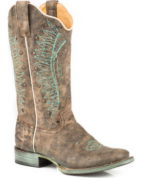 Roper Women's Embroidered Headdress Studded Cowgirl Boots - Square Toe, Brown, hi-res