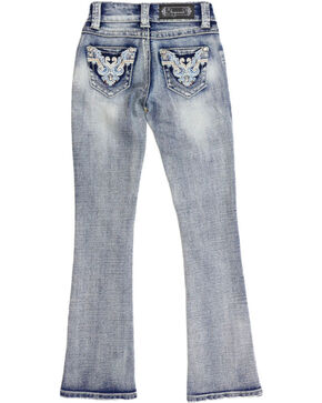 Shyanne Girls' Light Wash Aztec Scroll Jeans - Boot Cut, Blue, hi-res