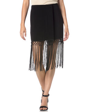 Miss Me Black Fringe Skirt, Black, hi-res