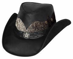 Bullhide Men's Comanche Leather Hat, Black, hi-res