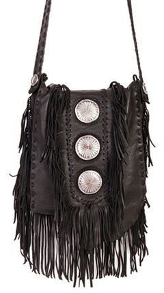 Scully Black Leather Fringe with Large Conchos Shoulder Bag, , hi-res
