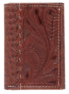 American West Whipstitch Tri-Fold Wallet, Mocha, hi-res