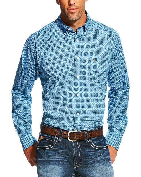 Ariat Men's Geo Pattern Long Sleeve Shirt, Blue, hi-res