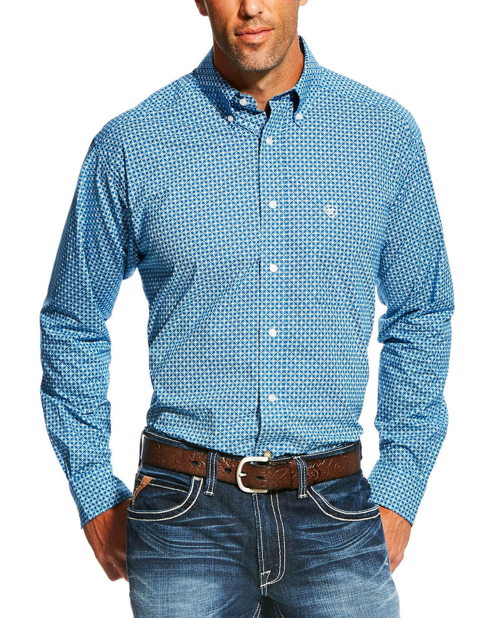 Ariat Men's Geo Pattern Long Sleeve Shirt, Blue, hi-res
