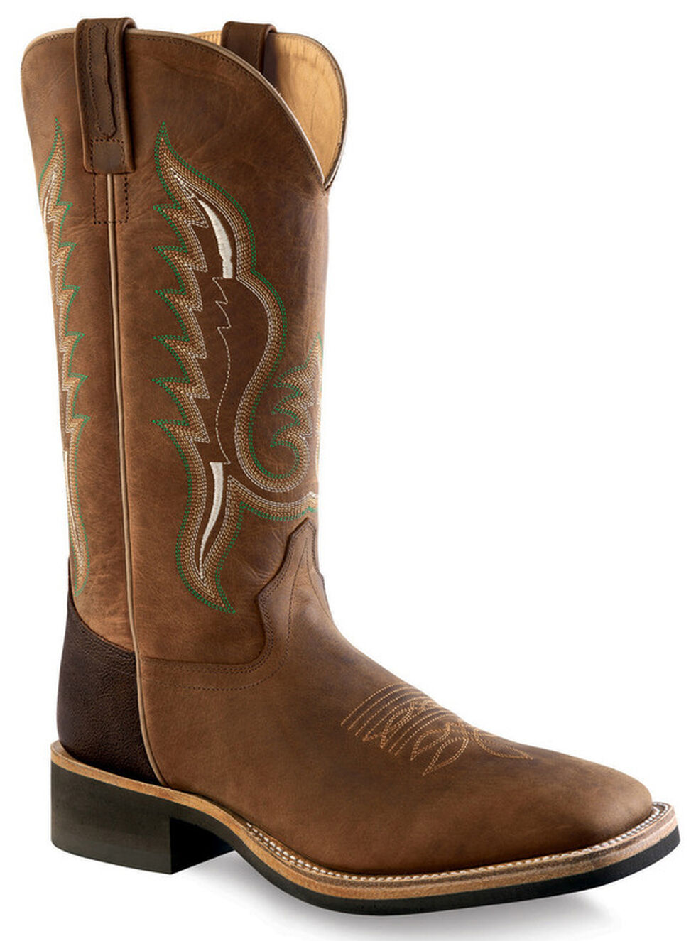 Old West Men's Brown Cowboy Boots - Square Toe , Brown, hi-res