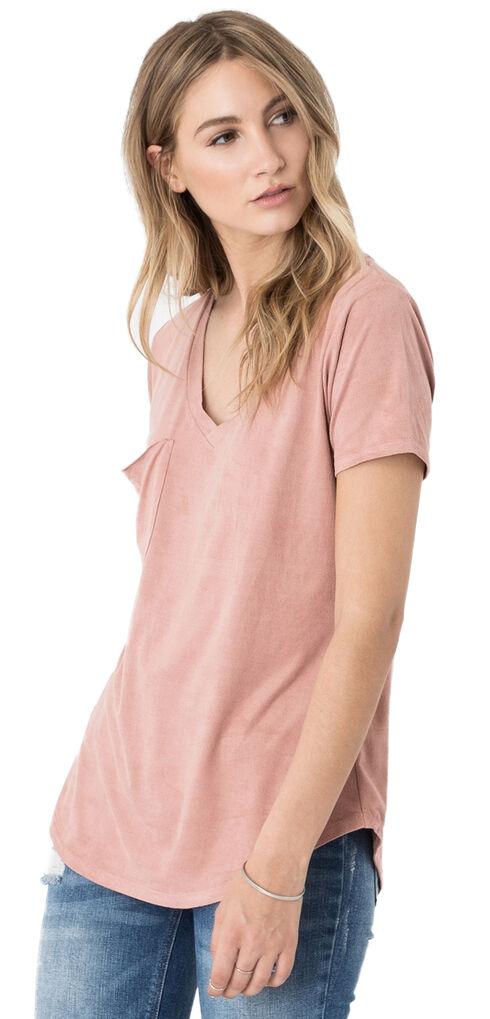 Z Supply Women's Pint Suede Pocket Tee, Pink, hi-res