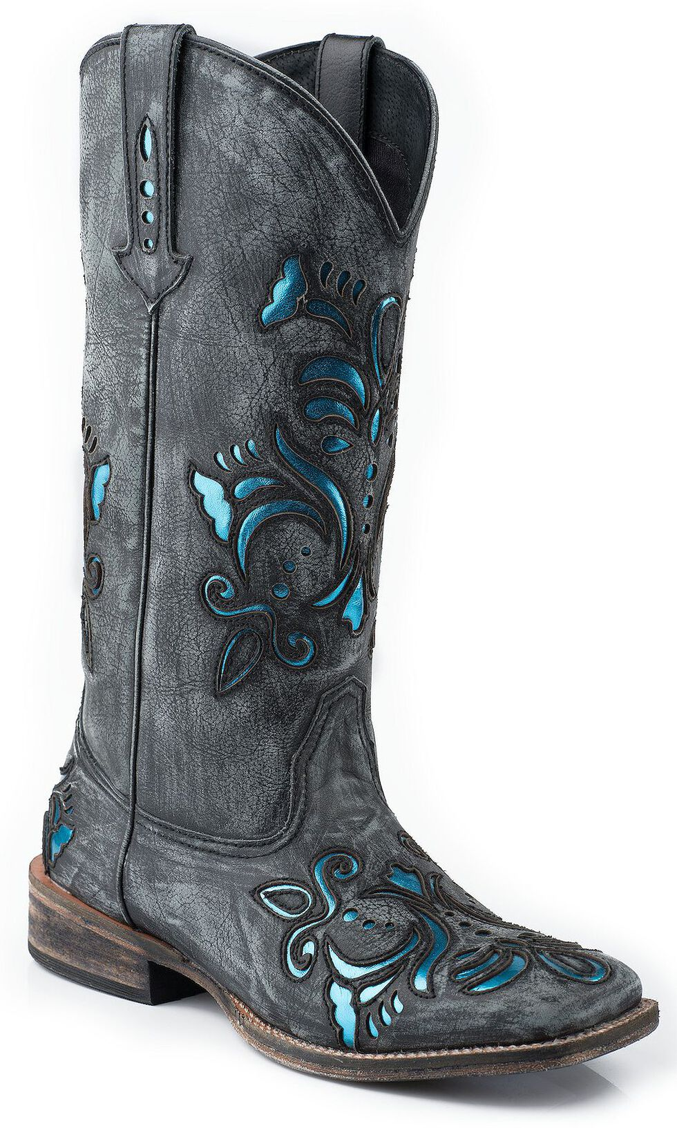 Roper Shiny Turquoise Leather Inlay Cowgirl Boots - Square Toe, Black, hi-res