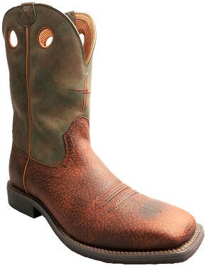 Twisted X Camo Top Hand Cowboy Boots - Square Toe , Peanut, hi-res