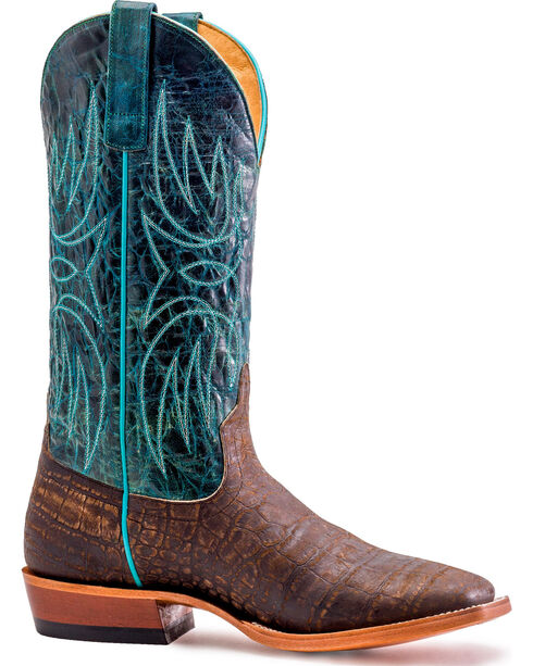 Horse Power Men's Cocoa Vintage Caiman Print Cowboy Boots - Square Toe, Dark Brown, hi-res