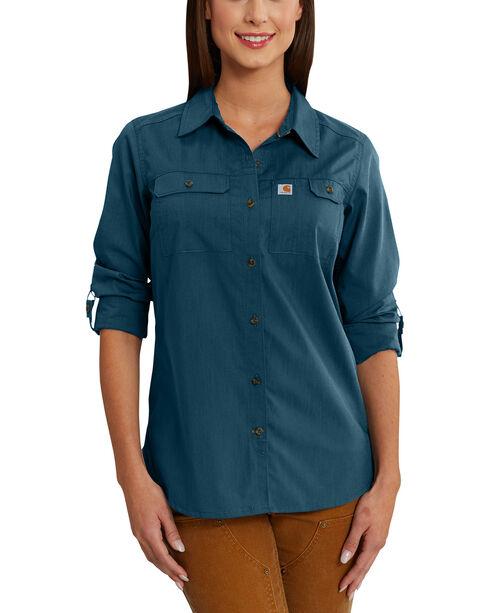 Carhartt Women's Force Ridgefield Shirt , Medium Blue, hi-res