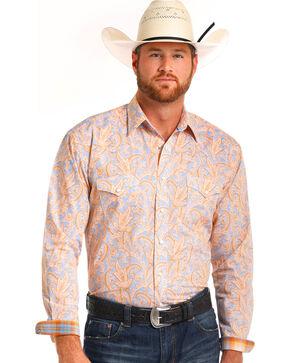 Rough Stock by Panhandle Men's Orange Paisley Shirt , Orange, hi-res