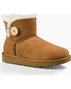 UGG Women's Chestnut Mini Bailey Button II Boots - Round Toe , Chestnut, hi-res