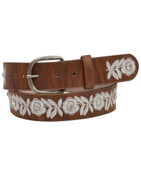 Angel Ranch Women's White Floral Embroidered Belt, Brown, hi-res