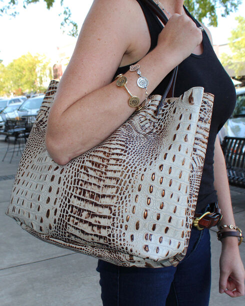 SouthLife Supply Women's Cream Croc Square Tote, Cream, hi-res
