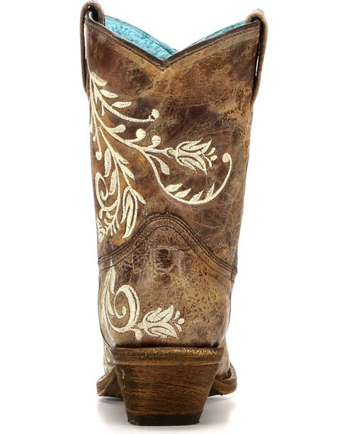 Corral Women's Side Embroidery Cowhide Short Boots - Snip Toe , Brown, hi-res