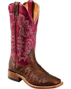 Boulet Antique Full Quill Ostrich Cowgirl Boots - Square Toe, , hi-res