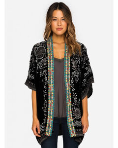 Johnny Was Women's Embroidered Velvet Okinawa Kimono, Black, hi-res