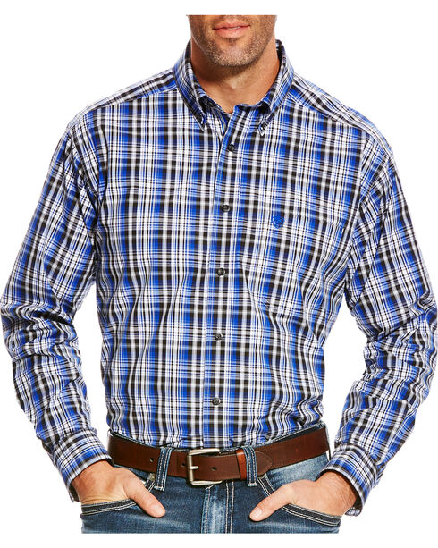 Ariat Men's Blue Brookwood Plaid Western Shirt - Tall , Multi, hi-res