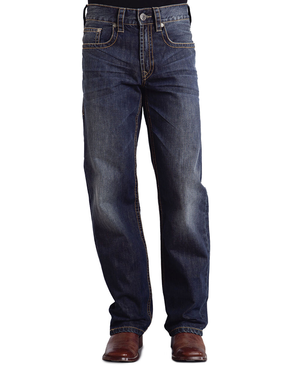 "Stetson Modern Fit Curved ""X"" Stitched Jeans, Med Wash, hi-res"