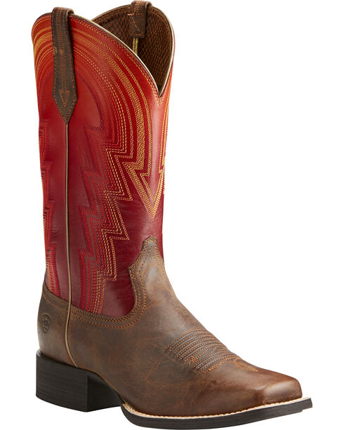 Ariat Women's Sunrise Round Up Waylon Rodeo Boots - Square Toe , Brown, hi-res