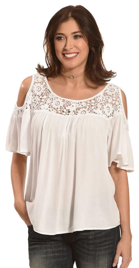 Bila Women's Crochet Lace Cold Shoulder Top , White, hi-res