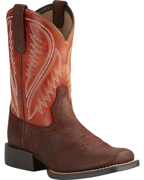 Ariat Boys' Hoolihan Alamo Cowboy Boots - Square Toe, Brown, hi-res