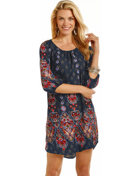 Rock & Roll Cowgirl Women's Navy Paisley Print Shift Dress , Navy, hi-res