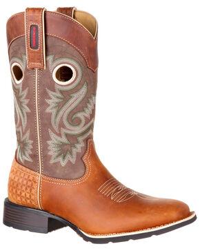Durango Men's Mustang Western Boots - Wide Square Toe, Dark Brown, hi-res
