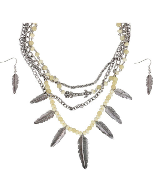 Shyanne Women's Silver Feathers Jewelry Set, Cream, hi-res