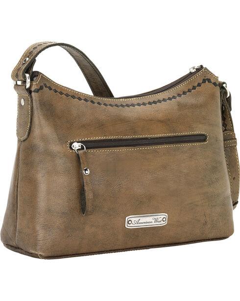American West Brown Native Sun Zip-Top Shoulder Bag, Brown, hi-res