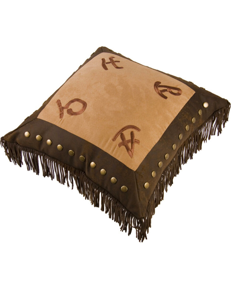 HiEnd Accents Embroidered Ranch Brand & Fringe Pillow, Tan, hi-res