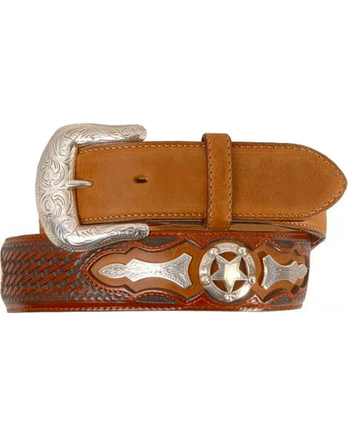 Justin Odessa Star Leather Belt, Tan, hi-res