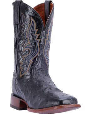 Dan Post Men's Full Quill Ostrich Cowboy Boots - Square Toe , Chocolate, hi-res