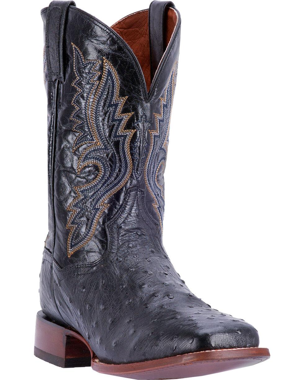 Dan Post Men's Full Quill Ostrich Cowboy Boots - Square Toe , Chocolate, hi-res