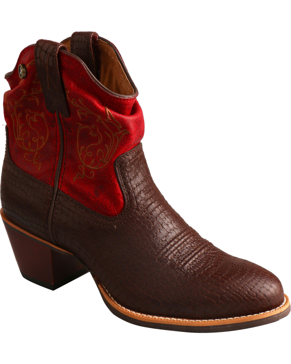 Twisted X Brown & Red Slouch Fashion Cowgirl Boots - Medium Toe, Brown, hi-res