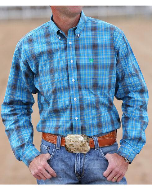 Cinch Men's Blue and Green Plaid Long Sleeve Shirt, Blue, hi-res