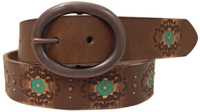 Roper Women's Brown Hand Paint Leather Belt, Brown, hi-res