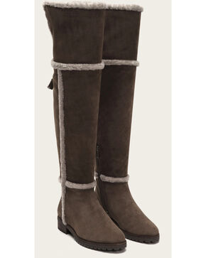 Frye Women's Smoke Suede Tamara Shearling OTK Boots - Round Toe , Grey, hi-res